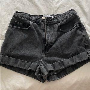 American apparel black denim jean shorts
